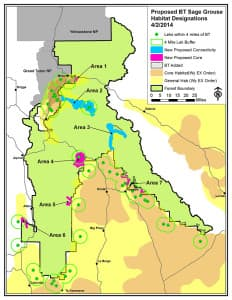 This map by the Bridger-Teton National Forest shows where the agency wants to ensure a connection between sage grouse populations between the Gros Ventre River (Area 2) and the upper Green River (Area 3). Officials made slight changes to this proposal in the Star Valley area