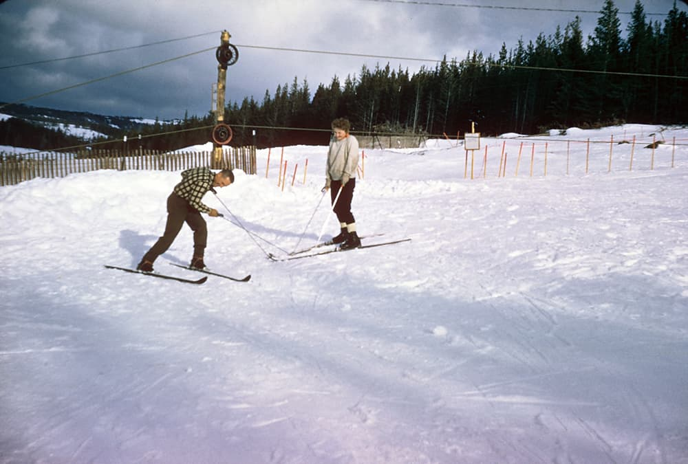 The Antelope Butte Ski Area opened in the 1960s and was known as a classic community ski hill. It closed in 2004. (courtesy Antelope Butte Foundation)