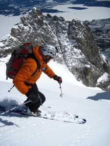 Steve Romeo skis down Drizzlepus on Mount Moran in Grand Teton National Park. (courtesy TetonAT)