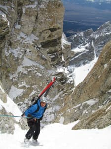 Steve Romeo climbs the Grand Teton in Grand Teton National Park. It took him multiple attempts before he checked off skiing the famous peak. (courtesy TetonAT)