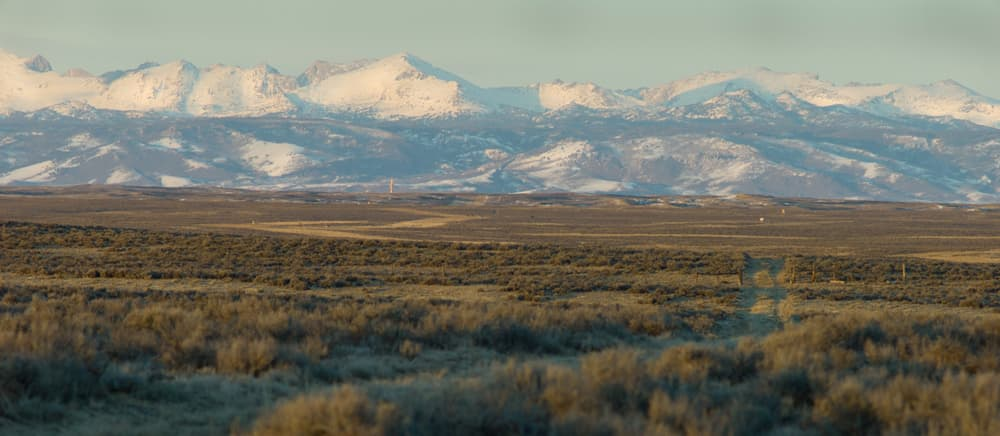 This sage grouse winter concentration area south of Pinedale is seasonal home to some of the 2,000 grouse biologists want to protect with state regulations. It also the site of the proposed 3,500-well NPL gas field. (Angus M. Thuermer Jr./WyoFile)