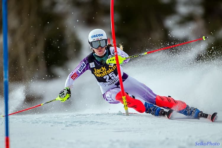 Selkowitz used all the tools in his camera bag to make Resi Stigler stand out in this photograph of a slalom race in Aspen, Colorado in 2014. He chose a camera angle and combination of shutter speed and f-stop to isolate the Olympian from the background. (Jonathan Selkowitz/SelkoPhoto) November 30, 2014 - Aspen, Colorado:  Resi Stiegler of the USA taking 11th place in The Nature Valley  Winternational Women's Alpine World Cup Slalom ski race.