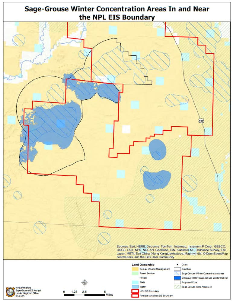 This Game and Fish Department map shows the proposed NPL field, outlined in red at the bottom left, along with the Jonah and Pinedale Anticline gas fields, in red to the top right. Other outlines indicate winter concentration areas and the proposed expansion of Gov. Matt Mead's core-area protective zone. The troubled Yellowpoint breeding complex that covers some 35,000 acres across the northern part of the proposed NPL field is not depicted. (Wyoming Game and Fish Department)
