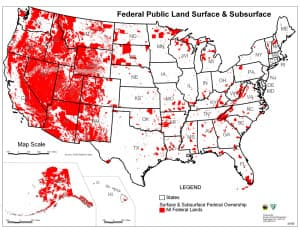 Federally owned land dominates much of the West. (courtesy of the Bureau of Land Management)