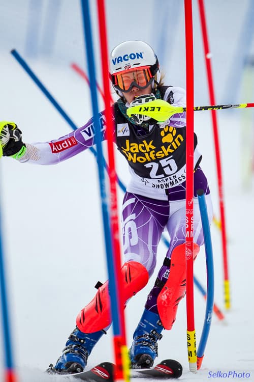 Former U.S. Ski Team member and Jackson Hole native Resi Stiegler skis to 11th place in the women's World Cup slalom in Aspen, Colorado in 2014. She was one of Selkowitz's frequent subjects. (Jonathan Selkowitz/SelkoPhoto)