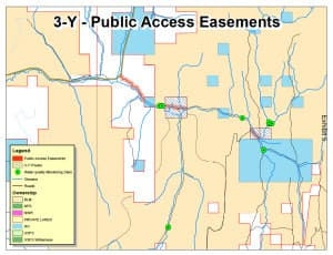 A map created by WWP as part of its defense exhibits in the trespassing lawsuit shows data collection sites (green), public road easements, private land (white), and state land where Ratner collected data (blue). (Western Watersheds Project)