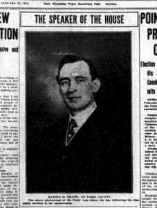 Rep. Martin Pratt of Park County turned Democrat in 1913 so he could attain the speakership of the House, then kept the gavel when he returned to the Republican fold. Wyoming Tribune, Jan. 17, 1913.