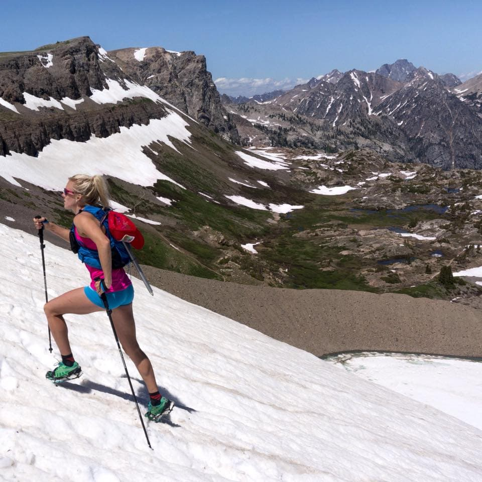 Meredith June Edwards uses poles on steep sections of uphill when training and racing long distances in the mountains. (courtesy Owen Leeper)