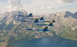 The U.S. Navy Flight Demonstration Squadron, the Blue Angels, conducted a flyover of Grand Teton National Park, including Grand Teton, for a team photo shoot, Tuesday July 21, 2015. (courtesy U.S. Navy)