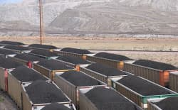"Trains loaded with coal wait in queue to return the southern Powder River Basin ""joint line"" for delivery to U.S. utilities. (Chris Carroll/Colorado Geological Survey)"
