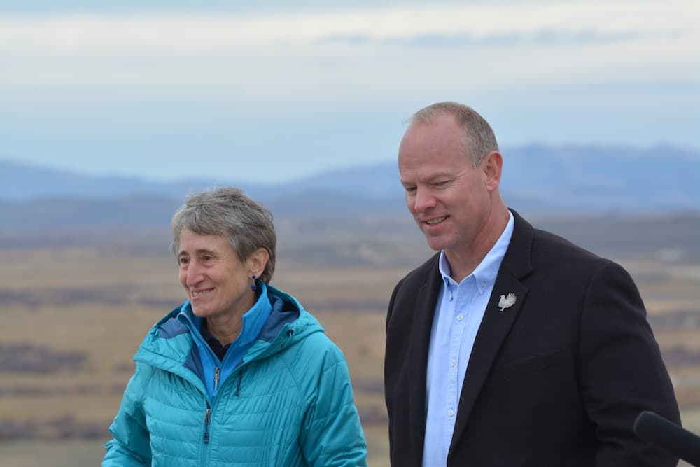 Former Secretary of the Interior Sally Jewell and Gov. Matt Mead agreed on several initiatives in Wyoming, but not Planning 2.0. During this meeting near Pinedale they celebrated sage grouse conservation. (U.S. Department of the Interior)