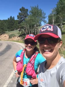 Despite getting lost, Christine Peterson and Kelsey Dayton were still smiling as they made their way up Casper Mountain during Casper Strong. (courtesy Christine Peterson)