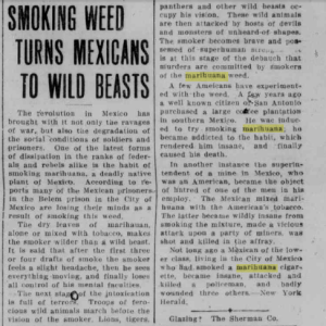 An article published in the Cheyenne State Leader in 1913 reveals the racist attitudes and propaganda surrounding the use and effects of marijuana at that time. (Wyoming Newspaper Project)