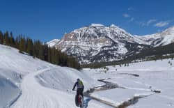 Fat biking up Granite Creek to the hot springs in the Bridger-Teton National Forest. Fat biking is generally allowed on all groomed trails in the National Forests in Wyoming, outside of Wilderness areas. (courtesy Tim Young)