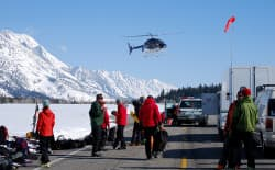 "A helicopter departs for a search and rescue mission in April 2011 in Grand Teton National Park. A new podcast, ""The Fine Line,"" aims to educate, inform and entertain listeners about the dangers of outdoor mishaps. (courtesy Grand Teton National Park)"