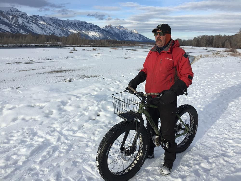"Keith Benefiel of Wilson, Wyoming enjoys a winter fat bike ride along the Snake River in Jackson Hole. ""I ride right from my house, it's great winter exercise"", he said. (courtesy Tim Young)"