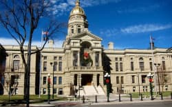 Wyoming's State Capitol Building in Cheyenne. Lawmakers plan to tame spending with 8 percent cuts while still rounding up money for special projects. (Gregory Nickerson/WyoFile )