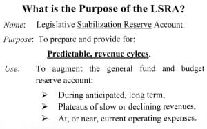 A slide distributed by Sen. Nicholas summarizes one view of the purpose of the Legislative Stabilization Reserve Account, which currently stands at $1.6 billion.)