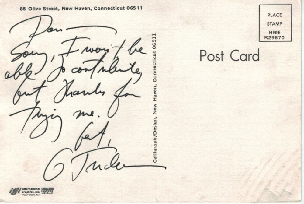 Trudeau post card back