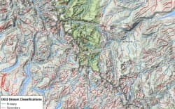 The Wyoming Outdoor Council created this map, and others, to help residents identify streams that should retain high water-quality standards. It shows, in red, tributaries in Forest Service wilderness areas of the Wind River Range that would be reclassified to allow five times more E. coli than currently permitted. (Wyoming Outdoor Council)