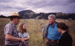 Yellowstone Superintendent Michael Finley gives Chelsea and Bill Clinton a briefing when the former president toured the world's first national park while in office. Hosting such visitors is an important part of a superintendent's job, Finley said, and shouldn't be made difficult. (National Park Service)