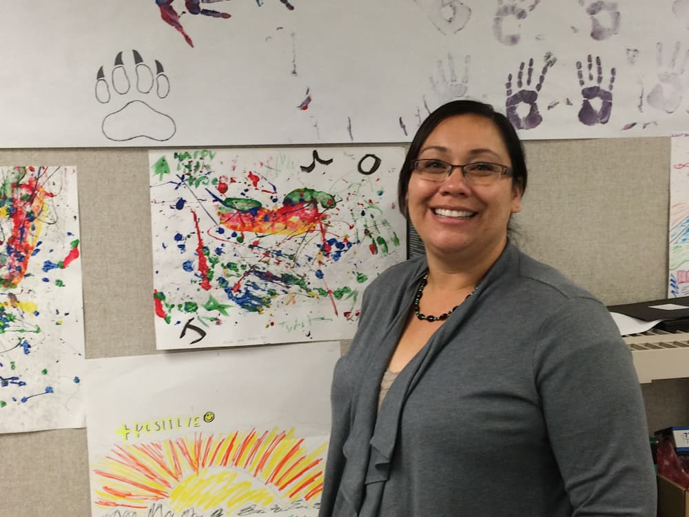 "Sunny Goggles, White Buffalo Recovery Center Director, is blunt about the serious challenges to childhood well-being on the Wind River Indian Reservation, and also entirely optimistic. ""I believe in our youth. They are the solution,"" she said. (photo by Matthew Copeland/WyoFile)"
