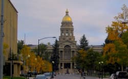 The Wyoming State Capitol. On Oct. 26 Wyoming revenue estimators forecasted a 23 percent revenue decline for major state accounts in the 2017-2018 budget cycle. (Flickr Creative Commons/Ken Lund)