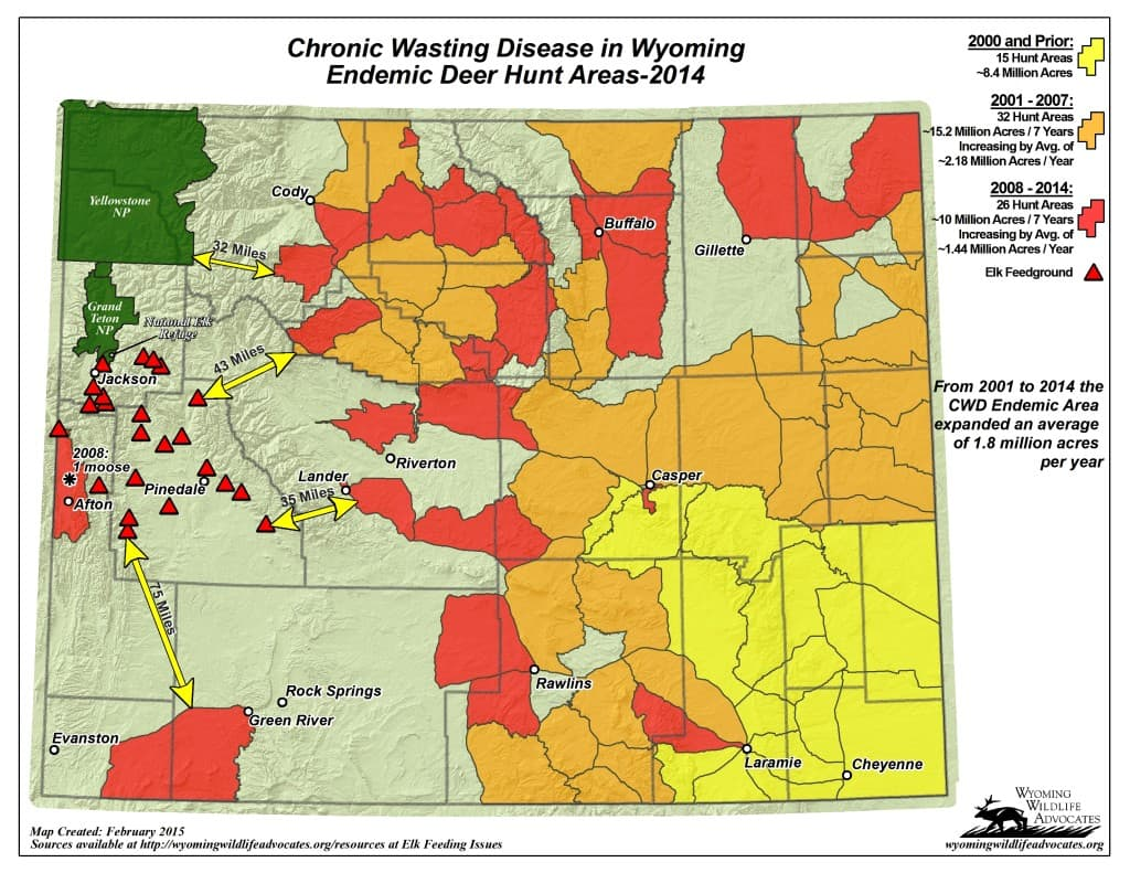 This map by Wyoming Wildlife Advocates shows how close Chronic Wasting Disease is to state elk feedgrounds west of the Continental Divide. New infected hunt areas have been discovered since this map was made early this year. (Wyoming Wildlife Advocates)