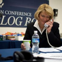 U.S. Rep. Cynthia Lummis (R) takes a phone call in this 2009 photo from the House Republican Conference. (Flickr Creative Commons/House Republican Conference)