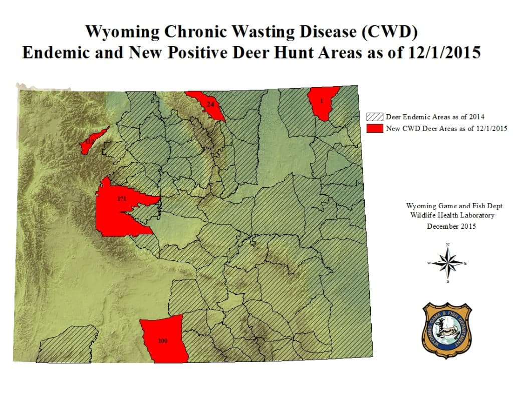 Wyoming Game and Fish Department created this map of the most recent hunt areas where Chronic Wasting Disease has been found in mule deer. The map does not include infected elk hunt areas, which don't cover as much territory as infected deer country. (Wyoming Game and Fish Department)
