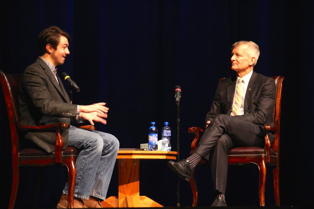 "Haefner spoke at a student forum moderated by Associated Students of UW president Brian Schueler. Haefner grew up in Iowa as a self-described ""nerdy"" Star-Trek fan who read James Joyce. His father was a professor of English at the University of Iowa. (WyoFile/Gregory Nickerson)"