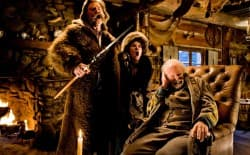 "(L-R) Kurt Russell, Jennifer Jason Leigh, and Bruce Dern star in ""The Hateful Eight."" A Thermopolis, Wyo., company crafted the buffalo hide coats featured in the film. (Photo: Andrew Cooper, SMPSP / © 2015 The Weinstein Company. All Rights Reserved.)"