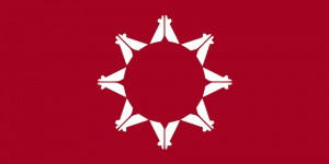 Flag of the Oglala Nation. Almost 50 tribes oppose hunting of grizzly bears. (Wikipedia)