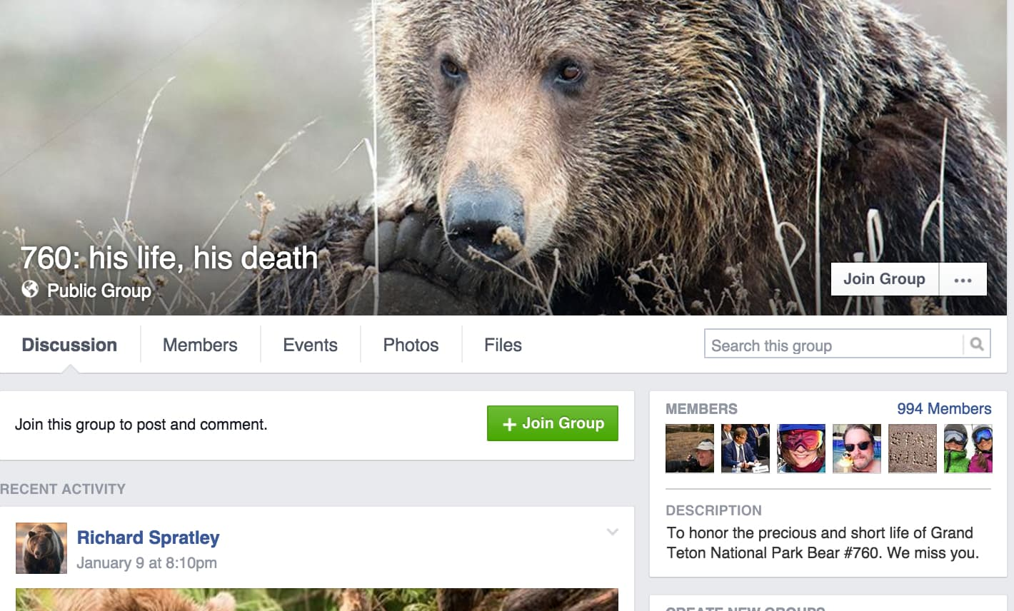 Social media now plays a role in public reaction to grizzly bear management, including last year's decision to kill a man-eating bear in Yellowstone. Before that event advocates created a Facebook page for a different bear — grizzly 760 — after the Grand Teton National Park bruin frequented developed areas outside the park, was trapped, moved and ultimately killed. The public group has 994 Facebook members. (760: his life, his death)