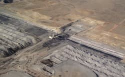 This aerial view of the Arch Coal's Black Thunder mine in the southern Powder River Basin shows the advancing edge of surface mining operations. (Courtesy of EcoFlight)