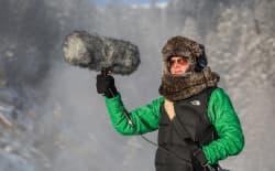 Jennifer Jerrett records sounds in Yellowstone National Park. (Photo by NPS/Neal Herbert)
