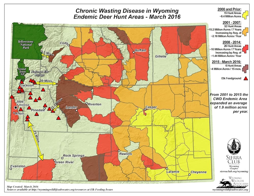 CWD advanced across almost 4 million acres in 2015 and the first months of 2016, Wyoming Wildlife Advocates and Sierra Club, Wyoming Chapter said when they released this map recently. In the previous 15 years, the malady advanced across an average of 1.8 million acres a year. (Wyoming Wildlife Advocates/Sierra Club, Wyoming Chapter)