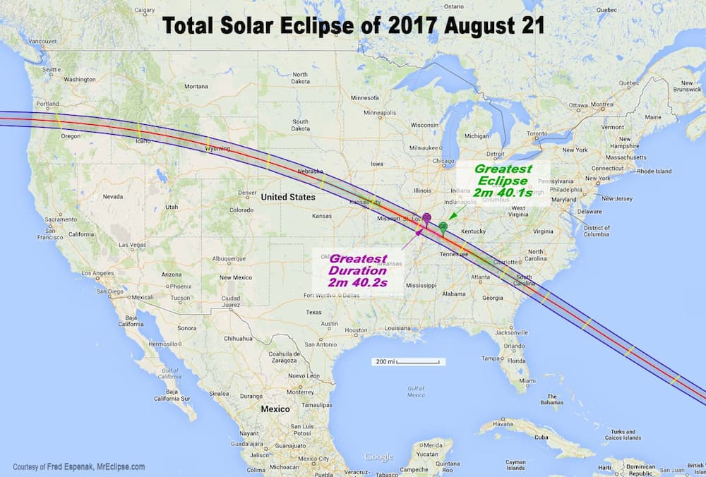 The total solar eclipse of Aug. 21, 2017 will cross the U.S. from coast to coast in about an hour and a half. Of all the locations it will be seen, parts of Oregon and Wyoming have the best climate for potential clear sky, meteorologists say. (NASA)