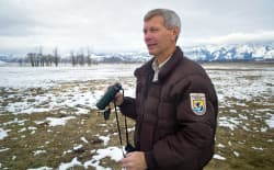 Steve Kallin worked at the National Elk Refuge for about 10 years. He officially ends a 39-year career with the National Refuge system when he retires Jan. 3. (Angus M. Thuermer Jr./WyoFile)