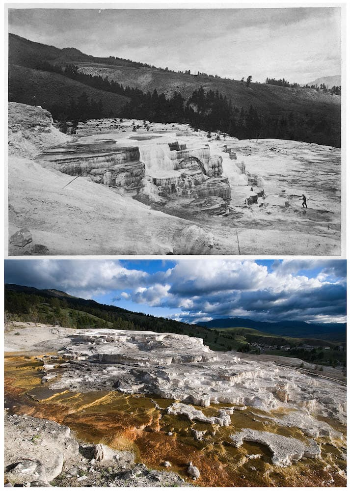 TOP July 21-24, 1871 214 GROUP OF LOWER BASINS (William Henry Jackson - Through The Lens Of Time: Yellowstone Then And Now - News Columns