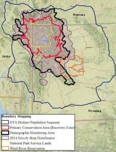 The proposed Yellowstone ecosystem bear management boundaries exclude grizzlies in the northern Wyoming Range from protection afforded in what's known as the Demographic Monitoring Area where distribution and numbers would be carefully monitored. When the occupied habitat was excluded, federal officials said a lack of social tolerance was one reason not to protect a population there. (Wyoming Game and Fish Department)