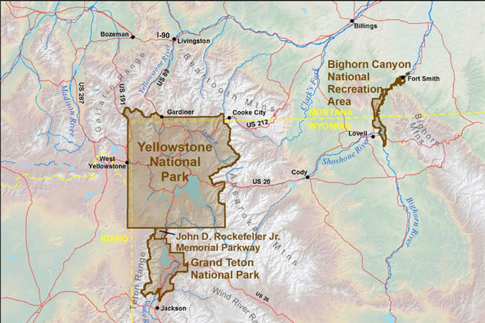 Park Service Wants Grizzly Hunting Ban Between Yellowstone Grand - Yellowstone park us map