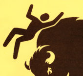 Yellowstone National Park is distributing a new bison warning flyer that replaces an illustration of a tourist getting launched with a graphic rendition of a figure nicknamed Helvetica Man. (National Park Service)