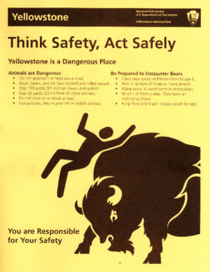 Helvetica Man shows no emotion even after being tossed by an angry Yellowstone bison in this new flyer warning of wildlife in the world's first national park. Helvetica Man is the nickname for the stylized figure used internationally on signs that help direct people in high-tragic areas like airports, sporting venues and national parks. (National Park Service)