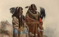 Karl Bodmer's early 1800s portraits of Native Americans include this one featuring Mandan tribal members and a necklace of grizzly bear claws. Tribal members today say the grizzly is sacred and should not be removed from Endangered Species Act protection and hunted. (Karl Bodmer [cropped] 1843)