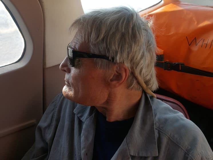 Dr. Bruce Hayse of Jackson arranged Schmitz's last wilderness adventure and photographed him on the bush plane during the flight to the Middle Fork of the Salmon River. (Bruce Hayse)