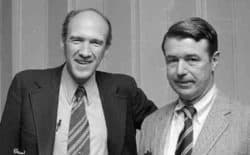 Al Simpson and Warren Morton helped boost the mineral severance tax rate in Wyoming, leading to the establishment of the Permanent Mineral Trust Fund. With the downturn in the energy market, attention is returning to Wyoming's tax structure and how revenues can be increased and costs cut. (Casper College Western History Center)
