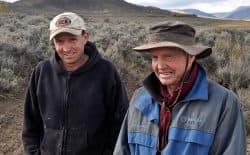 Joseph Jones, left, is one of more than a dozen ranchers who filed a trespass lawsuit against Western Watersheds Project. He learned to raise cattle from his father, Bruce, right. (Jeremy P. Jacobs/E&E Publishing)