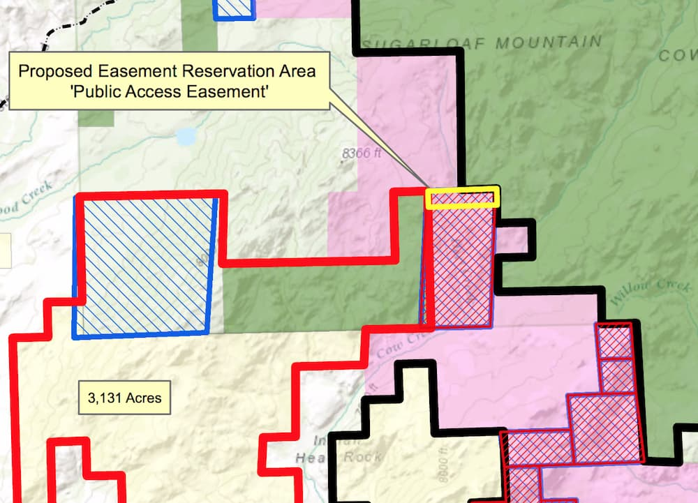 This map is part of a collection that the state has posted on its website outlining the elements of the controversial Bonander land exchange. The State Board of Land Commissioners meets Dec. 1 to act on the swap. (Office of State Lands and Investments)