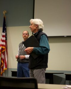 "Kevin Frederick, administrator of the water quality division of Wyoming DEQ, speaks to residents in Riverton at an ""open house"" style meeting about the DEQ's final report on possible contamination in area water wells. (Andrew Graham/WyoFile)"